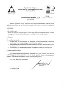 The administrative order signed by Philippine Labour Secretary Silvestre Bello III