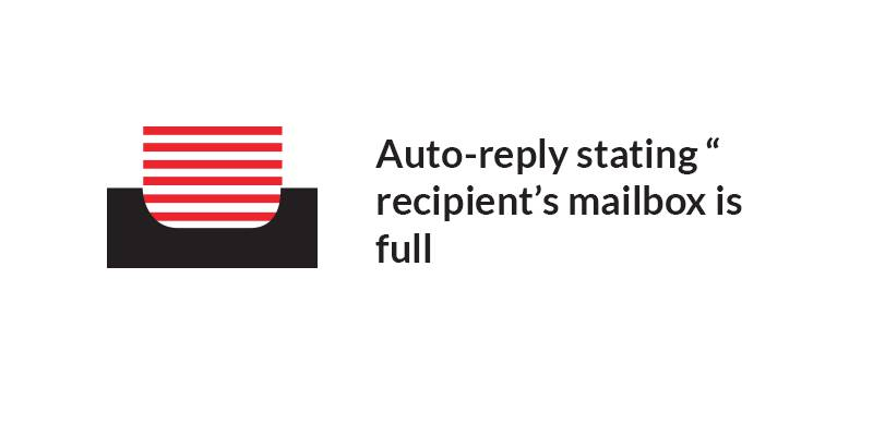 "Auto-reply stating ""recipient's mailbox is full and can't accept messages now""."